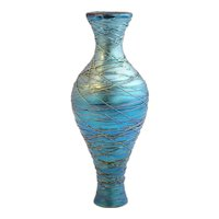 American Durand Blue Iridescent Threaded Glass Table Lamp Base