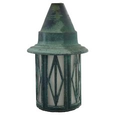 Small American Arts and Crafts Copper and Glass Porch Lantern