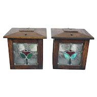 Pair of American Arts and Crafts Oak and Stained Glass Square Sconce Shades