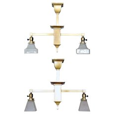Pair of American Mission Brass Two-Light Chandeliers