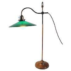 English Victorian Green Shade Brass Gooseneck Adjustable Table Lamp