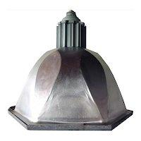 Small Vintage American Industrial Aluminum Six-Sided Pendant Light