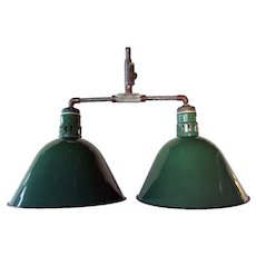 Vintage American Appleton Industrial Green Porcelain Double Hanging Lamp