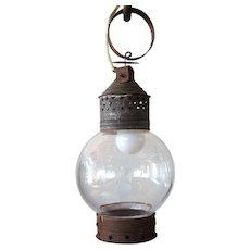 Hand Blown Glass Globe Hanging Tin Lantern