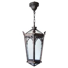 American Cast Bronze Hanging Hexagonal Lantern