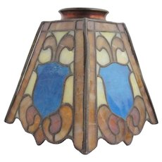American Duffner and Kimberly Arts and Crafts Stained and Copper Foil Glass Porch Lamp Shade