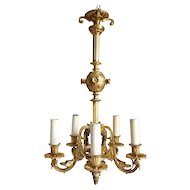 Small French Etruscan Revival Gilt Bronze Five-Light Chandelier