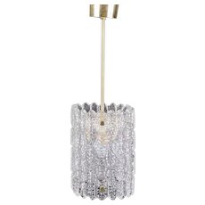 Swedish CARL FAGERLUND for Orrefors Glass and Brass Pendant Light