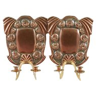 Pair of Swedish Jugendstil Copper Two-Arm Candle Sconces