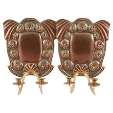 Pair of Swedish Jugendstil Copper Two-Arm Candle Sconces
