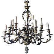 French Louis XIV Style Gilt Bronze 12-Light Chandelier