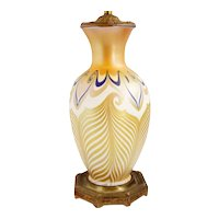 American Quezal Art Nouveau Glass Pulled Feather Table Lamp