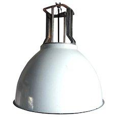 Vintage Industrial White Enamel Shade One-Light Hanging Pendant Light