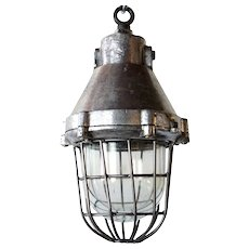 Vintage Industrial Aluminum and Iron Caged Pendant Light (Several available)