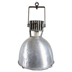 Vintage Industrial Aluminum Dome Shade Caged One-Light Pendant Light