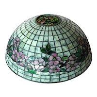 American Tiffany Studios Dogwood Pattern Leaded Glass Table Lamp Shade