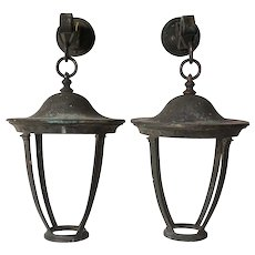 Pair of American Bronze Hanging Wall Bracket Lanterns