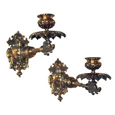 Pair of Small French Gilt Bronze Swing-Arm One-Light Wall Sconces