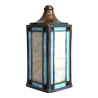American Arts and Crafts Zinc and Copper Foiled Leaded Glass Lantern Shade