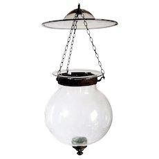 Small Anglo Indian Glass Globe Hall Lantern (Hundi)