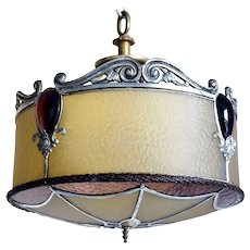 American Arts and Crafts Leaded, Jewelled Glass and Brass Round Ceiling Light Shade