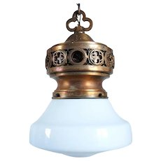 American Gothic Revival Bronze and Milk Glass Shade Hanging Theater Light Fixture