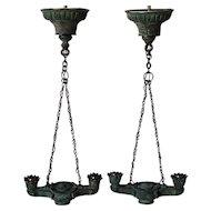 Pair of Greek Revival Bronze Hanging Two-Light Lamps