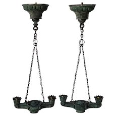 Pair of Greek Revival Bronze Hanging Two-Light Lamps