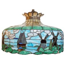 American Leaded Glass Windmill Pendant Light