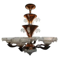 French Atelier Petitot and Ezan Art Deco Amber and Opalescent Glass Six-Light Icicle Chandelier