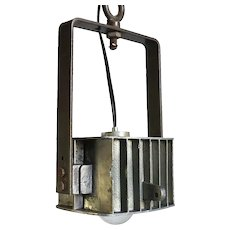 Vintage Industrial Aluminum One-Light Hanging Pendant Light