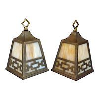 Pair American Albert Sechrist Arts & Crafts Patinated Brass and Glass One-Light Pendant Hall Lights