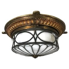 American Neoclassical Brass and White Opal Leaded Glass Oval Ceiling Light/ Wall Sconce