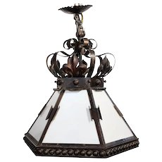 Argentine Renaissance Revival Wrought Iron and Glass Pendant Light