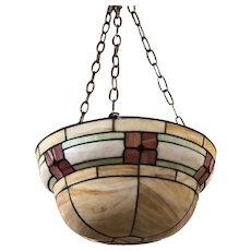 American Arts and Crafts Leaded and Bent Glass Bowl-Form Hanging Pendant Light
