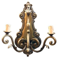 French Baroque Revival Bronze Two-Light Wall Sconce Light