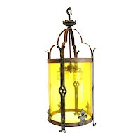 American Albert Sechrist Wrought Iron and Yellow Plexiglass Four-Light Pendant Lantern