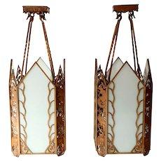 Pair of American Albert Sechrist Art Deco Cast Bronze and Glass Pendant Lights