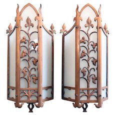 Pair of American Albert Sechrist Bronze and Flashed Glass One-Light Wall Sconces