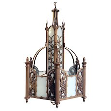 American Albert Sechrist Bronze and Flashed Glass Six-Light Pendant Light