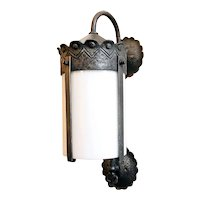 American Albert Sechrist Hammered Iron and White Glass Bracket Wall Sconce