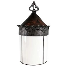 American Albert Sechrist Hammered Wrought Iron One-Light Pendant Hall Light