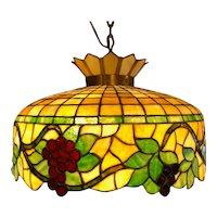 American Brass and Mosaic Glass Grapevine Three-Light Hanging Pendant Light