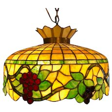 American Brass and Mosaic Glass Grapevine Three-Light Hanging Pendant Light