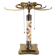American Pairpoint Painted Garland Wreath Glass and Brass Two-Light Table Lamp Base