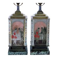 Pair of French Art Deco ANDRE DESGRANGES Champleve and Lacquer One-Light Table Lamps