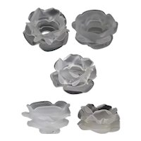 Collection of Five Continental White Satin Glass Floral-Form Lamp Shades