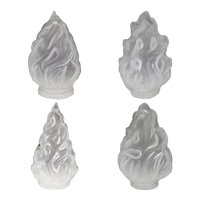 Four Continental Satin Glass Torchiere Flame Lamp Shades