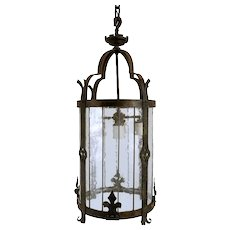 American Albert Sechrist Gothic Revival Wrought Iron Four-Light Pendant Lantern