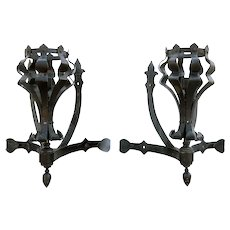 Pair of American Medieval Style Painted Wrought Iron One-Light Corner Wall Sconces